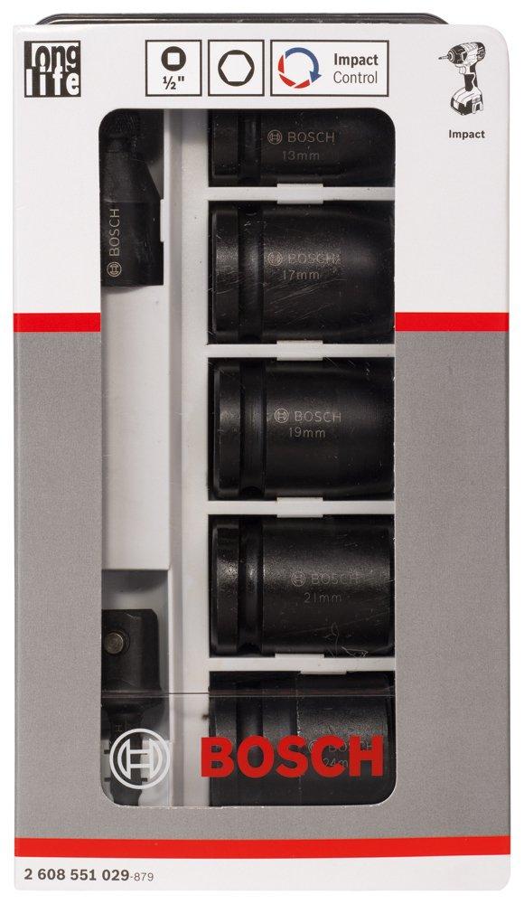 Bosch 2608551029 Assortiment de douilles adaptables impact control 7 pi/èces surplat 13//surplat 17// surplat 19//surplat 21//surplat 24//40 mm// 2 adaptateurs