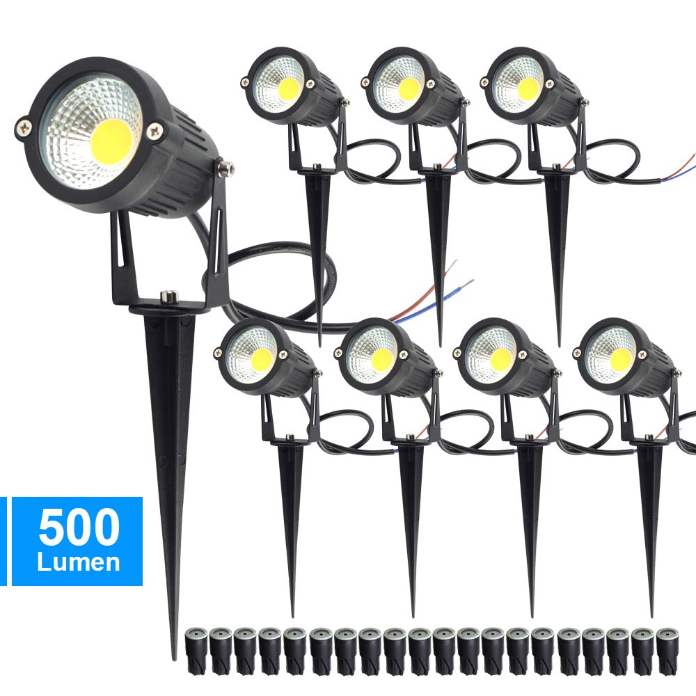CHINLY 5W LED Landscape Lights Garden Lights 12V 24V 3000K Warm White Outdoor Spotlight Low Voltage Waterproof for Driveway, Yard, Lawn, Pathway (8 Pack with Connectors & Spikes) by CHINLY