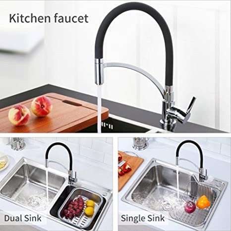 Pull Down Faucet Single Handle Black Silicone Pull Out Kitchen