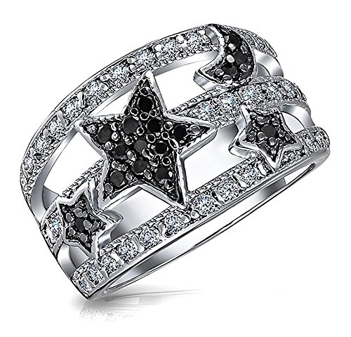 Bling Jewelry Stars and Moon Simulated Onyx Pave CZ Astrology Cocktail Ring,Black,6