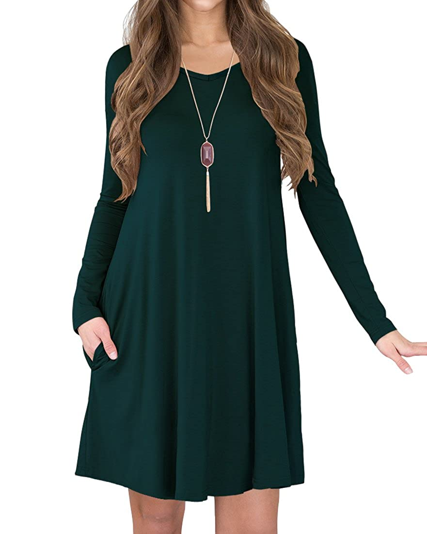 c6042f4fa41a Viishow Women's Long Sleeve Casual Loose T-Shirt Dress at Amazon Women's  Clothing store: