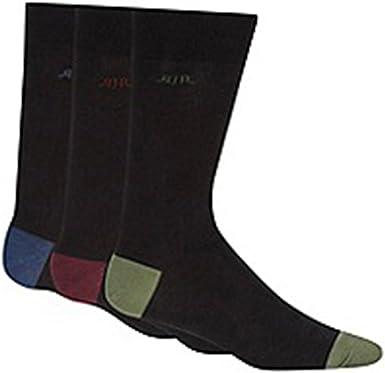 Rjr. John Rocha para hombre Pack de tres – Calcetines de dedos para talón y de color negro Negro negro Medium: Amazon.es: Ropa y accesorios