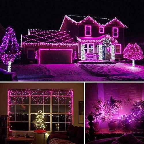 FEE-ZC Luces de Hadas solares navideñas, 72 pies 200 LED Cadena de Luces solares de Hadas Impermeables al Aire Libre para Bodas en el jardín al Aire Libre (Verde)