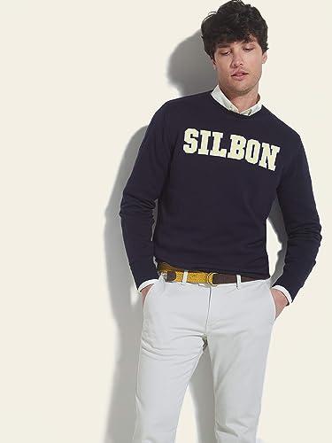 Jersey Estructura Cuello Caja Azul Medio para Hombre SILBON