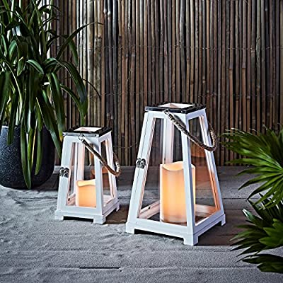 Lights4fun, Inc........... White Wooden Battery Operated LED Flameless Candle Beach Lanterns