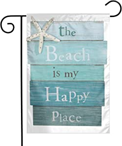 MSGUIDE Beach is My Happy Place Garden Flag Flower House Yard Decoration 12x18 Inch for Outdoor Balcony