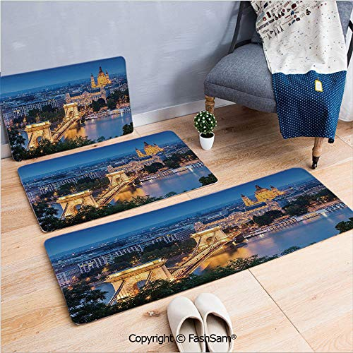 - FashSam 3 Piece Non Slip Flannel Door Mat Historical Old Bridge in Budapest Traditional European Culture Urban Old City Deco Indoor Carpet for Bath Kitchen(W15.7xL23.6 by W19.6xL31.5 by W35.4xL62.9)