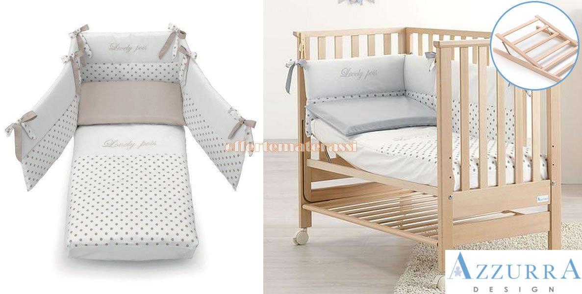 Kinderbett Azzurra Design Contact Natur Netz antirigurgito + Set Textil taupe