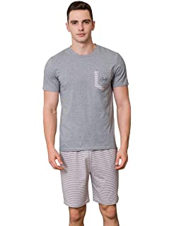 46da233636 BoBoLily Negligee Men s Fashions Summer Cotton Sleepwear Mens Pajamas Piece  Two Loungewear Suit Special Style Short