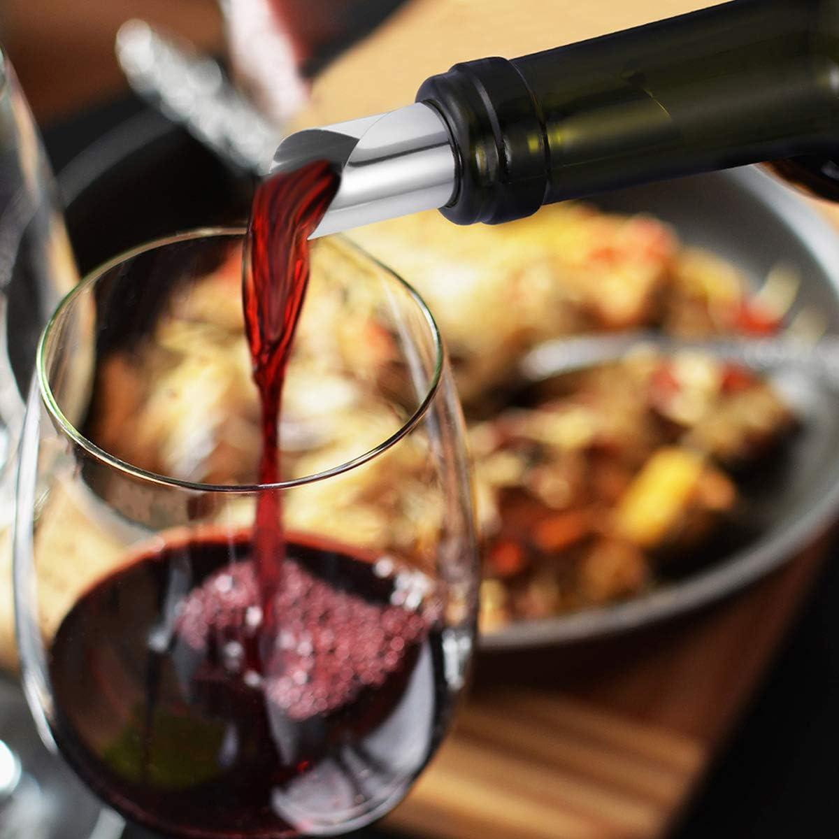 BESTONZON Weinausgie/ßer aus Aluminiumfolie f/ür Rotwein Silber Tropfstopp Ausgie/ßer flexibel