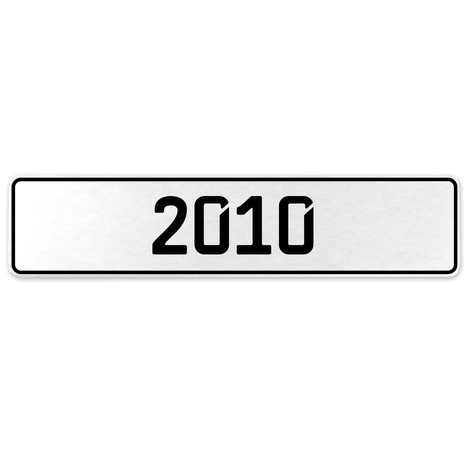 Vintage Parts 553253 2010 Year White Stamped Aluminum European License Plate