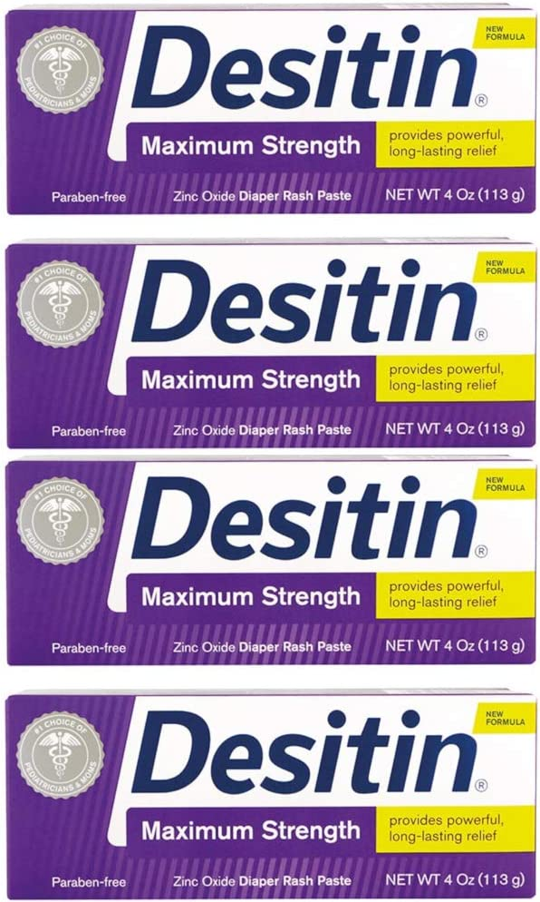DESITIN Maximum Strength Diaper Rash Paste 4 oz (Pack of 4)