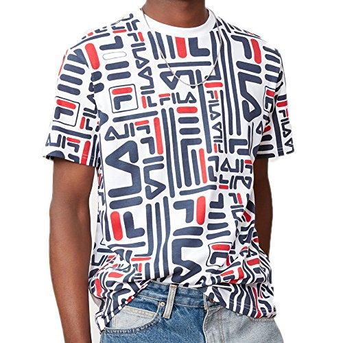 Fila Men's Eddie T-Shirt, White, Navy, Chinese Red, 3XL