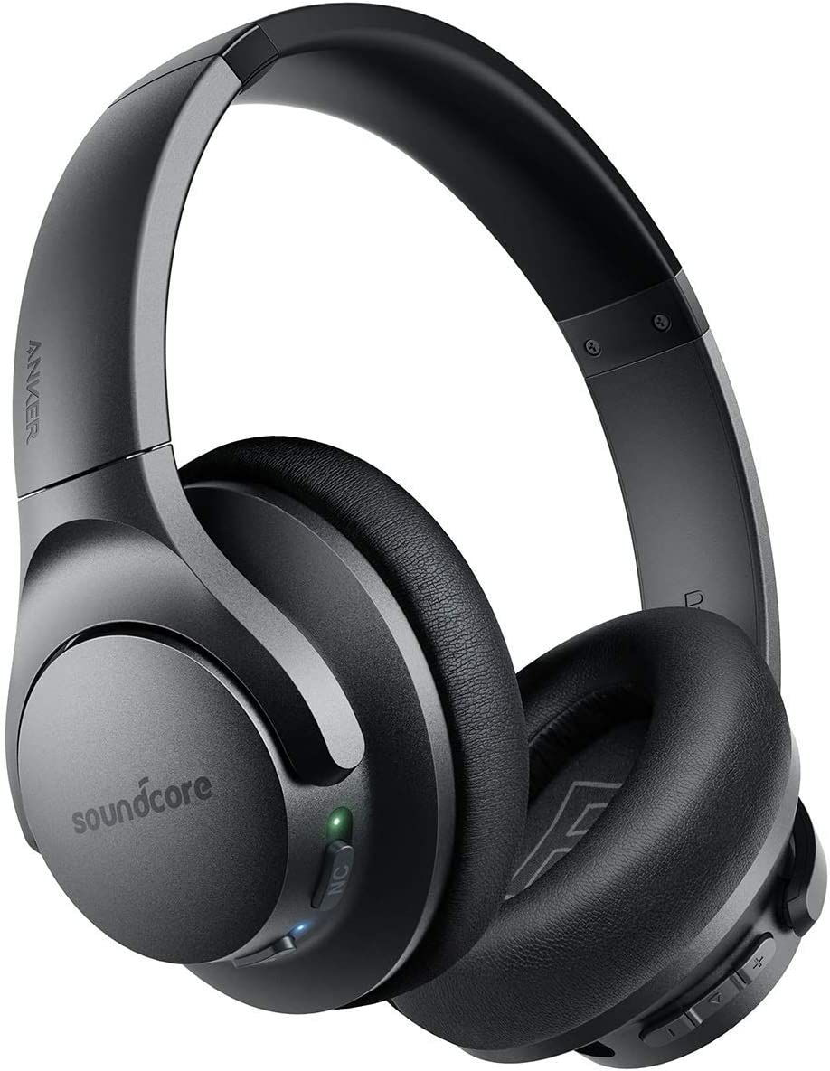 This is an image of a wireless headset in shiny black.