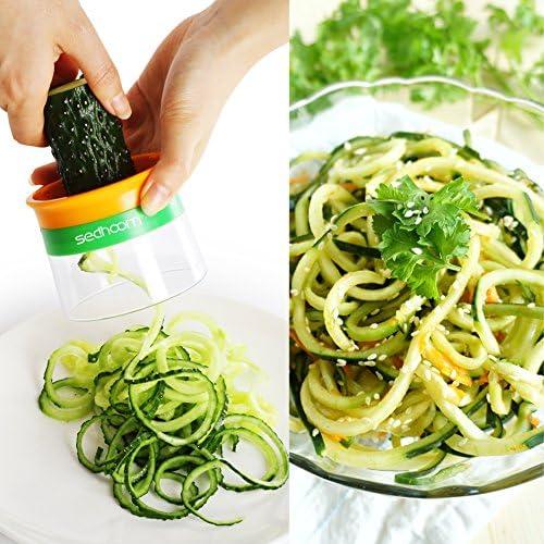 MEHRWEG pepinos 3 Cuchillas de Cortador de Verduras para Zanahorias Sedhoom Cortador en Espiral de Mano para Espaguetis de Verduras Calabazas Patatas calabacines