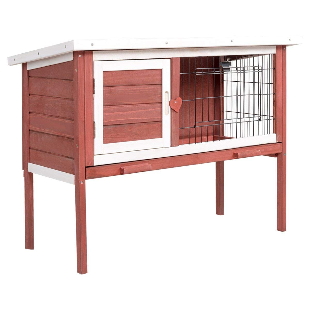 Tangkula Chicken Coop, Wooden Outdoor Garden Backyard Poultry Cage, Bunny Rabbit Small Animals Hen Cage with Tray, Rabbit Hutch (36''L x 18''W x 28''H)