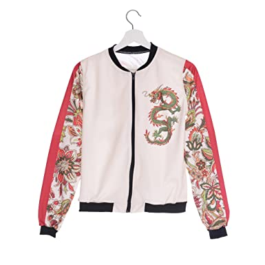 Amazon.com: Women Bomber Jacket Print Chinese Dragon Chaquetas Mujer Outwear Basic Coats jka36062 One Size: Clothing