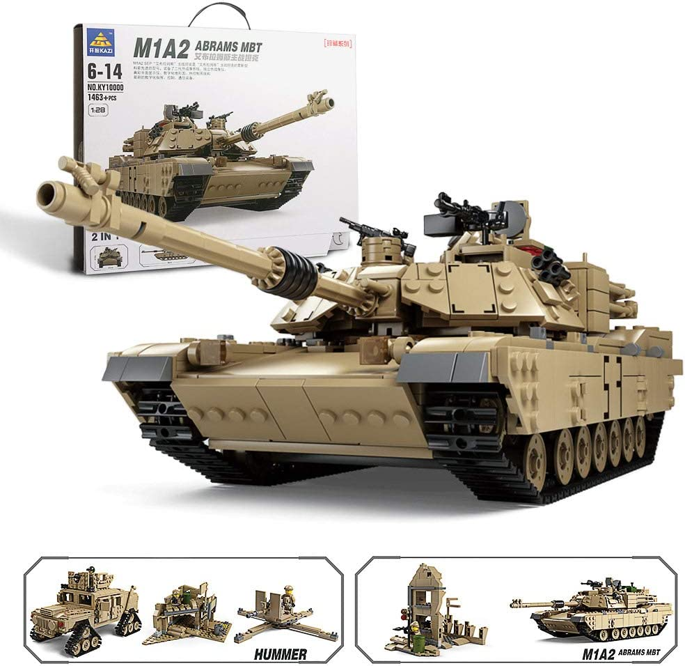 Feleph Abrams Tank Hummer 2-In-1 Kazi M1A2 Military Building Kit Army Vehicles Model Blocks Trucks Toys Swat Bricks Set