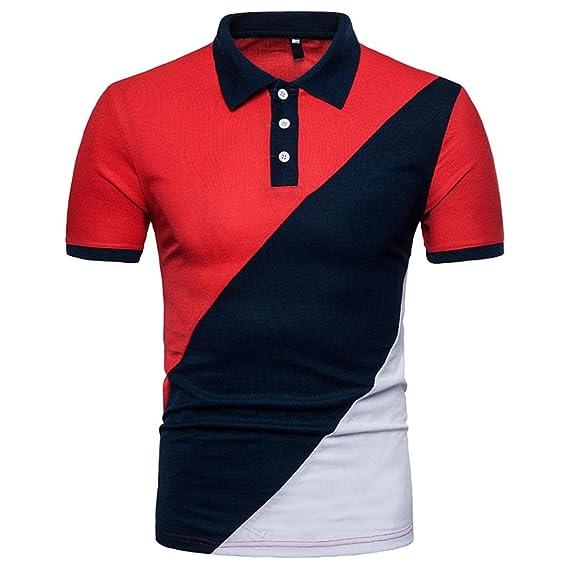 Herren Poloshirt Sommer Slim Fit Patchwork T-Shirt Klassisch Freizeit Hemd  Party Polohemd Kurzarmshirt Sommerhemd 6ed6959b3d