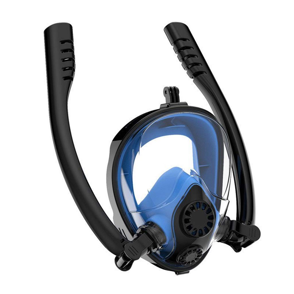 Diving Masks Double Breath Tube Snorkel Mask Full Face Anti-Fog Anti-Leak Swimming Snorkeling Mask Adults Diving Scuba Diving Snorkelling Masks (Color : Blue, Size : XL) by LF stores-Diving Masks