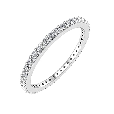 Fine Rings 1 Carat Blue Diamond Engagement Wedding U Shape Eternity Ring 14k White Gold Suitable For Men And Women Of All Ages In All Seasons Jewelry & Watches