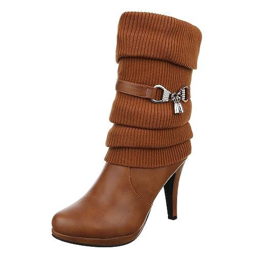 Ital Design High Heel Stiefel Damen Schuhe Klassischer