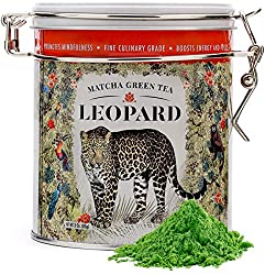 Genuine Japanese Matcha Green Tea Powder Organic - Leopard Matcha (3 Oz – 75 Servings). First Harvest, Vibrant Emerald Green Color, Contains High Levels Of Antioxidants & Amino Acids.