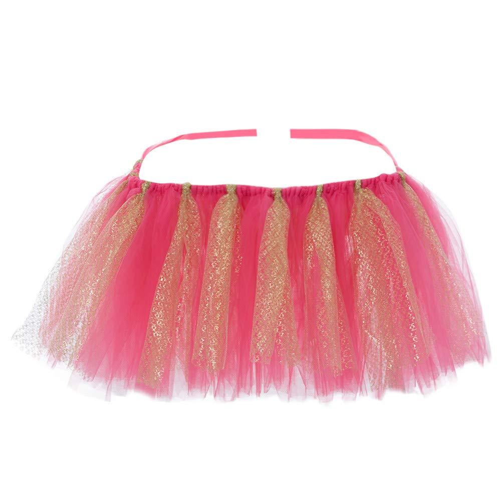 Sikye Glitter Kids Table Runner Tulle Dress High Chair Skirt Decoration for Baby Shower Birthday Party Supply (H)