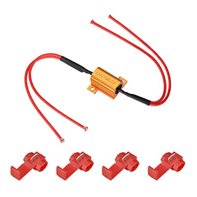 uxcell 4pcs 25W 8ohm Load Resistor Fix LED Bulb Fast Hyper Flash, Blink Error Code, Warning Cancellor for LED Turn Signal Lights or LED License Plate Light: Automotive