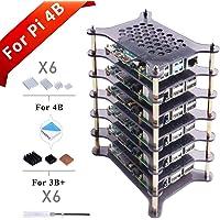 GeeekPi 6 lagen Pi Rack Case voor Raspberry Pi 4 Model B/Raspberry Pi 3 B+, Acryl Case Stackable Case Cluster Case voor…