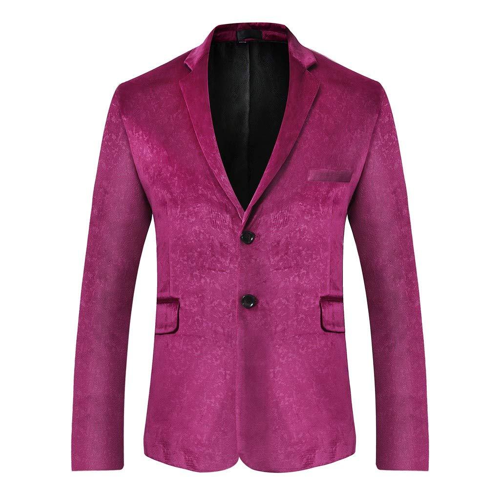 BingYELH Prom Suit for Men,Men's Floral Party Suit Slim Fit Stylish Dinner Jacket Wedding Blazer Prom Purple