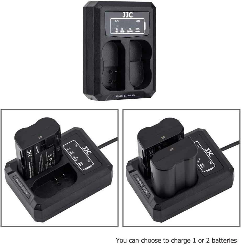 JJC Dual Slot USB and USB-C Type C Input QC3.0 Battery Charger for Fujifilm GFX100 GFX50S GFX50R Cameras fit with Fuji NP-T125 Rechargeable Lithium-Ion Battery