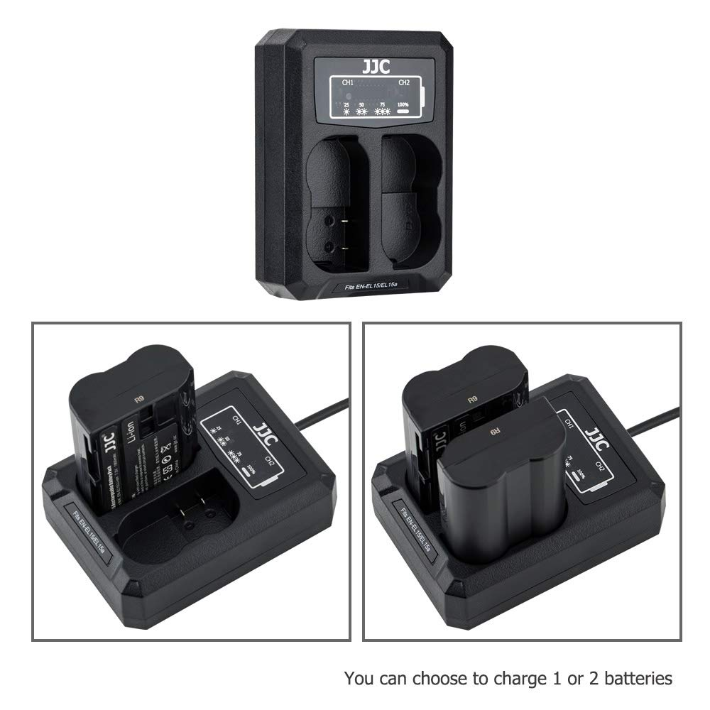 JJC NP-FW50 Battery Charger USB Dual Slot for Sony A6000 A6300 A6400 A6500 A7 A7II A7S A7SII A7R A7RII NEX-7 NEX-6 SLT-A99II DSC-RX10IV DSC-RX10III DSC-RX10II DSC-RX10 Cameras