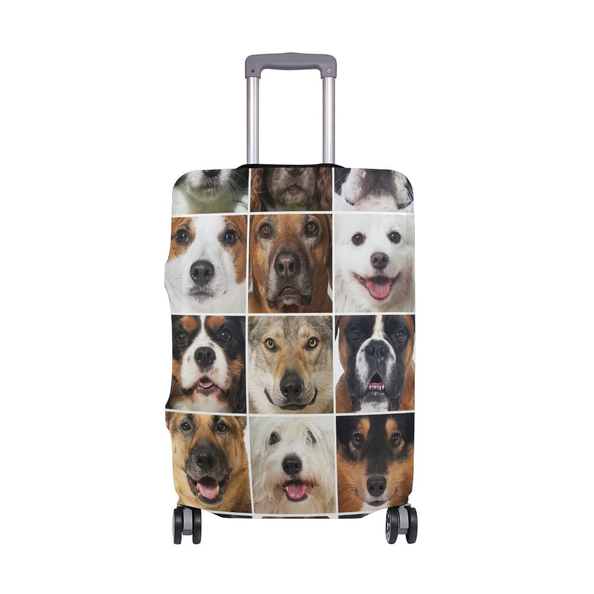 Travel Luggage Cover Spandex Suitcase Protector Washable Baggage Covers Dog Smile Face Collage