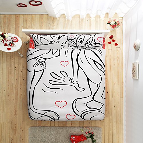 Deconation 100% Cotton Comforter Set Full Queen Size Disney Lola Loves Kisses Bugs Bunny Heart Theme Bedding Linens Quilt Doona Cover Sheets