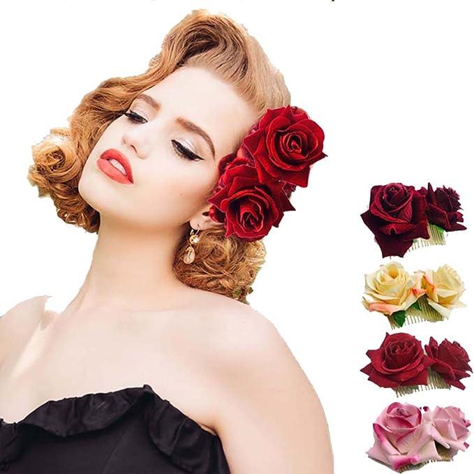Amazon ever fairy rose flower hair clip slide flamenco dancer ever fairy rose flower hair clip slide flamenco dancer pin flower brooch lady hair styling clip mightylinksfo