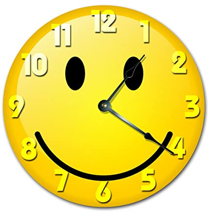 Amazon.com: Sugar Vine Art SMILEY FACE CLOCK Decorative Round Wall ...