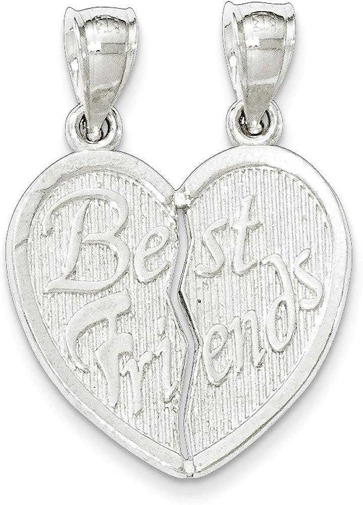 .925 Sterling Silver Best Friends Break Apart Heart Charm Pendant