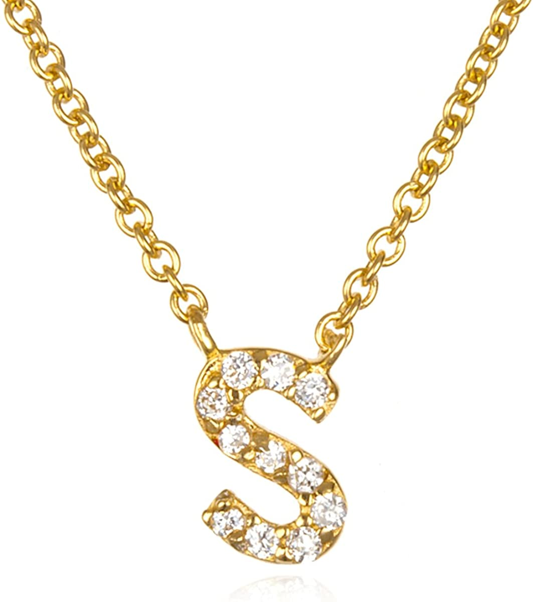 White CZ Initial I Necklace with 18 Inch Chain