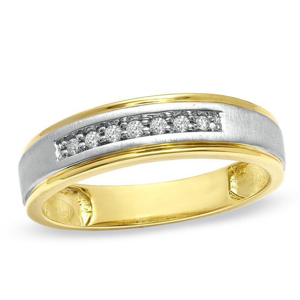 2heart Ladie's Accent Wedding Band Ring in 0.25 Cts D/VVS1 CZ 14K Two-Tone Gold Plated