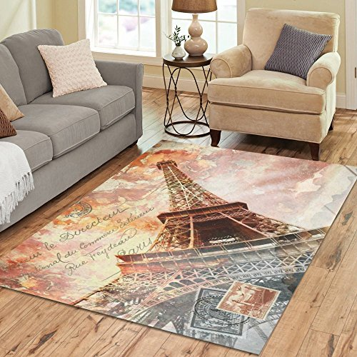 Cheap InterestPrint Vintage Eiffel Tower France City Paris Area Rug 7 x 5 Feet, Abstract Digital Art Postcard Modern Carpet Floor Rugs Mat for Children Kids Home Living Dining Playroom Room Decoration