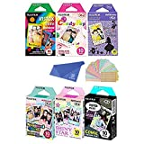 Fujifilm Instax Mini Film 6 Pack Bundle! Rainbow, Candy Pop, Disney Alice, Stained Glass, Shiny Star, Comic 10 X 6 = 60 Sheets Assort Set + withC Microfiber Cleaning Cloth for Camera Lenses + Stickers