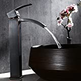 Jiuzhuo Modern Waterfall Spout One Hole Solid Brass Vessel Sink Faucet in Antique Black