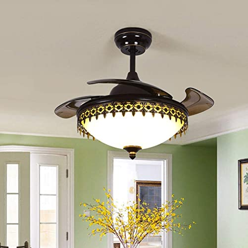 American Reverse Fan 42 Inch Black Retractable 6-Gear Speed Ceiling Fan Light Indoor Remote Chandelier Fan LED Lighting 3 Color Changing