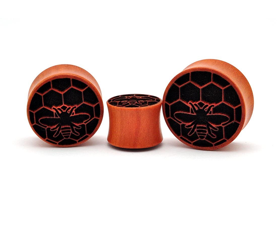 Laser Engraved Saba Wood Honeybee Plugs (PW-234) - Sold as a Pair Mystic Metals Body Jewelry