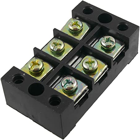 sourcing map Barrier Terminal Block 600V 60A 2 Positions Dual Rows Screw Terminals