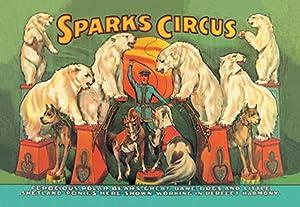 ArtParisienne Sparks Circus Ferocious Polar Bears, Great Dane Dogs and Little 12x18-inch Giclée Print