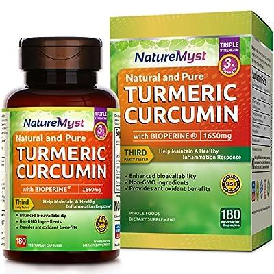 NatureMyst Turmeric Curcumin with Bioperine and 95% Standardized Curcuminoids, 1650mg, 180 Veggie Capsules (180 ct.)