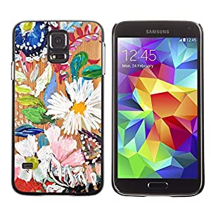 LECELL--Funda protectora / Cubierta / Piel For Samsung Galaxy S5 SM-G900 -- Daisy Leaves Spring Nature Painting --