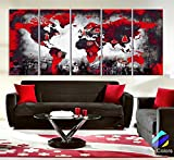Original by BoxColors Xlarge 30''x 70'' 5 Panels 30x14 Ea Art Canvas Print Original Wonders of the world Red background Black & white Map Wall decor Home interior (framed 1.5'' depth)